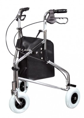 InventoryItem1439 400 - ROLLATOR CHROME THREE WHEELED LUMEX